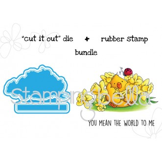 "The CHICK and the LADY BUG ""CUT IT OUT"" wafer thin DIES + RUBBER STAMP BUNDLE"