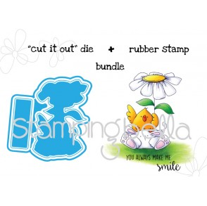 "the CHICK and the BUNNY WOBBLE ""CUT IT OUT"" wafer thin die + RUBBER STAMP"