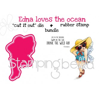 "EDNA LOVES THE OCEAN rubber stamp+""cut it out"" die BUNDLE (save 15%)"