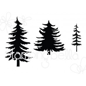 CHRISTMAS TREE SILHOUETTES RUBBER STAMPS