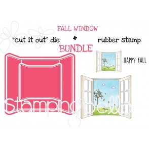 "FALL WINDOW RUBBER STAMP + ""CUT IT OUT"" DIE BUNDLE (SAVE 15%)"