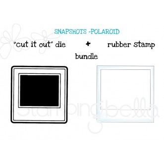 "SNAPSHOTS POLAROID ""CUT IT OUT"" DIE + RUBBER STAMP BUNDLE (save 15%)"