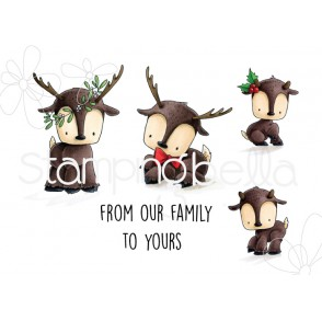 REINDEER FAMILY RUBBER STAMPS