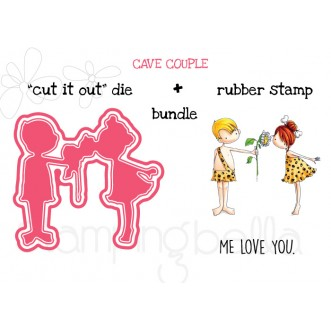 "CAVE COUPLE ""CUT IT OUT"" DIE + RUBBER STAMP BUNDLE (SAVE 15%)"