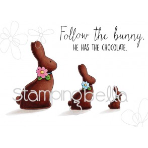 chocolate BUNNIES RUBBER STAMPS (set of 4 rubber stamps)