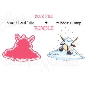 """DEER PILE RUBBER STAMP + """"CUT IT OUT"""" DIE BUNDLE (SAVE 15%)"""