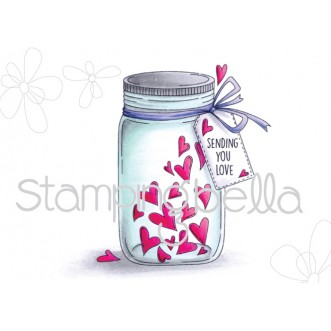 MASON JAR OF HEARTS RUBBER STAMP