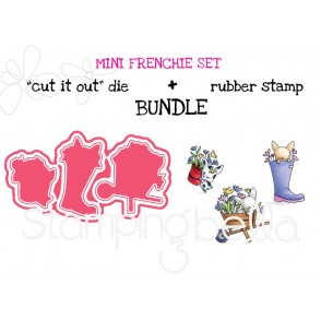 "mini FRENCHIE SET RUBBER STAMP + ""CUT IT OUT"" DIE BUNDLE (Save 15%)"
