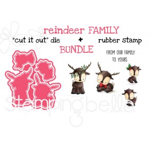 "REINDEER FAMILY RUBBER STAMP + ""CUT IT OUT"" DIE BUNDLE (SAVE 15%)"