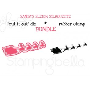 "SANTA'S SLEIGH SILHOUETTE RUBBER STAMP + ""CUT IT OUT"" DIE BUNDLE (SAVE 15%)"