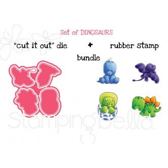 "SET OF DINOSAURS ""CUT IT OUT"" DIES + RUBBER STAMP BUNDLE (save 15%)"