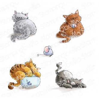SET OF KITTIES rubber stamps
