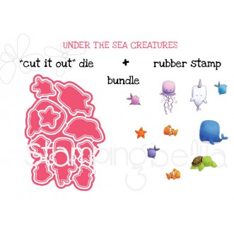 "UNDER THE SEA CREATURES ""CUT IT OUT"" DIES + RUBBER STAMP BUNDLE (SAVE 15%)"