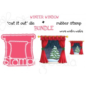 "WINTER WINDOW RUBBER STAMP + ""CUT IT OUT"" DIE BUNDLE (SAVE 15%)"