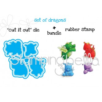 "set of dragons ""CUT IT OUT"" +RUBBER STAMP BUNDLE (save 15% when purchasing as a set)"