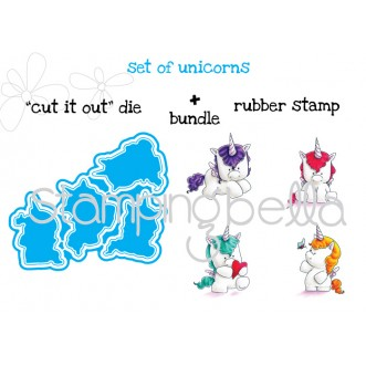 "set of unicorns ""CUT IT OUT"" DIES + RUBBER STAMP BUNDLE (save 15% when purchased as a set)"