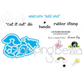 "UNICORN ADD ONS ""CUT IT OUT"" DIE + RUBBER STAMP BUNDLE (save 15% when purchased as a set)"