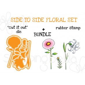 "SIDE TO SIDE FLORALS RUBBER STAMPS + ""CUT IT OUT"" DIES BUNDLE"