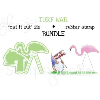 "TURF WAR RUBBER STAMP + ""CUT IT OUT"" DIE BUNDLE (save 15%)"