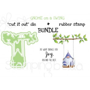 "Gnome on a SWING RUBBER STAMP + ""CUT IT OUT"" DIE BUNDLE (Save 15%)"