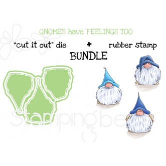 """Gnomes HAVE FEELINGS TOO RUBBER STAMP + """"CUT IT OUT"""" DIE BUNDLE (save 15%)"""