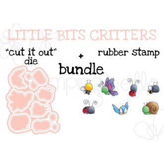 "LITTLE BITS CRITTERS RUBBER STAMP + ""CUT IT OUT"" DIE BUNDLE"