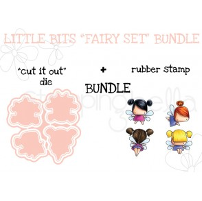 "LITTLE BITS FAIRY SET RUBBER STAMPS +""CUT IT OUT DIES"" BUNDLE"