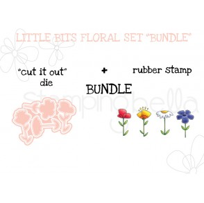 "LITTLE BITS FLORAL SET RUBBER STAMPS + ""CUT IT OUT"" DIES BUNDLE"