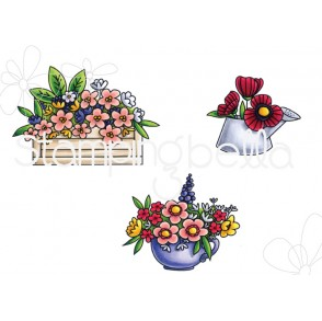 LITTLE BITS FLOWER  POTS RUBBER STAMPS