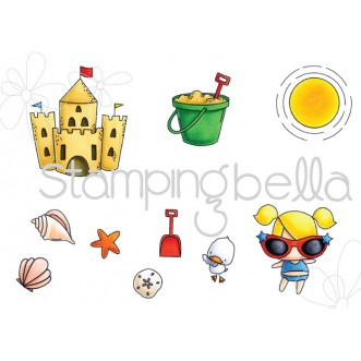 THE LITTLES  SANDCASTLE SET (set of 10 CLING MOUNTED rubber stamps)