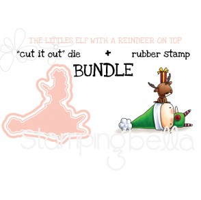 "THE LITTLES ELF with a REINDEER ON TOP ""cut it out"" dies +rubber stamp BUNDLE (save 15%)"