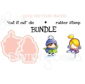 "LITTLE BITS FIGURE SKATERS ""cut it out"" dies + rubber stamp BUNDLE (save 15%)"