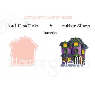"LITTLE BITS HAUNTED HOUSE RUBBER STAMPS + ""CUT IT OUT"" DIES BUNDLE (save 15%)"