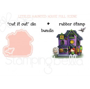"THE LITTLES HAUNTED HOUSE FULL SCENE RUBBER STAMPS + ""CUT IT OUT"" BUNDLE (save 15%)"