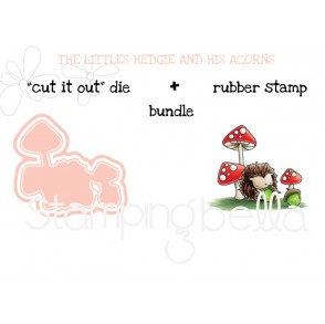 "THE LITTLES HEDGIE and his ACORNS RUBBER STAMP + ""CUT IT OUT"" DIE BUNDLE (save 15%)"