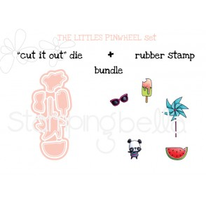 "LITTLE BITS  PINWHEEL SET ""CUT IT OUT"" DIES + RUBBER STAMP BUNDLE (save 15%)"