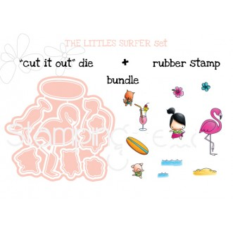 "LITTLE BITS  SURFER SET ""CUT IT OUT"" DIES + RUBBER STAMP BUNDLE (Save 15%!)"