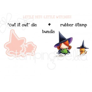 "LITTLE BITS LITTLE WITCHIES RUBBER STAMPS + ""CUT IT OUT"" DIES BUNDLE (save 15%)"
