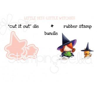 "LITTLE BITS LITTLE WITCHIES RUBBER STAMPS + ""CUT IT OUT"" DIES BUNDLE (save 15%)"