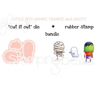 """little bits MUMMY FRANKIE and GHOSTY RUBBER STAMPS + """"CUT IT OUT"""" DIE BUNDLE (save 15%)"""