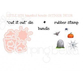 "little bits haunted house OUTDOOR DECORATIONS RUBBER STAMPS + ""CUT IT OUT"" DIES BUNDLE (save 15%)"