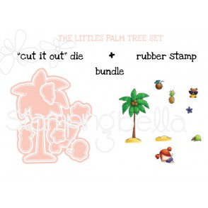 "THE LITTLES Palm Tree Set ""CUT IT OUT"" DIES + RUBBER STAMP BUNDLE (save 15%!)"