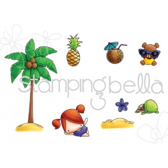 LITTLE BITS PALM TREE SET (set of 8 CLING MOUNTED rubber stamps)