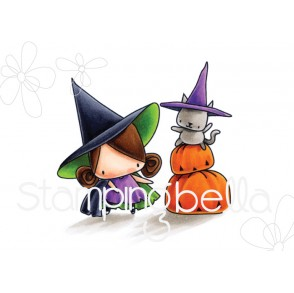 THE LITTLES PUMPKIN with a WITCHY on TOP RUBBER STAMP