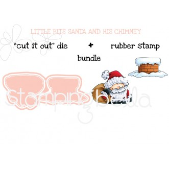 "LITTLE BITS SANTA and his CHIMNEY ""CUT IT OUT"" + RUBBER STAMP BUNDLE"