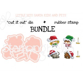 "LITTLE BITS SANTA KIDS and PETS ""cut it out"" dies + rubber stamp BUNDLE (save 15%)"
