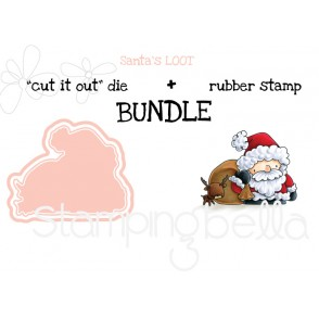 "THE LITTLES SANTA'S LOOT ""cut it out"" die + rubber stamp BUNDLE"