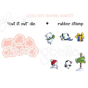 "LITTLE BITS SKATING QUARTET ""cut it out"" + rubber stamp BUNDLE (save 15%)"