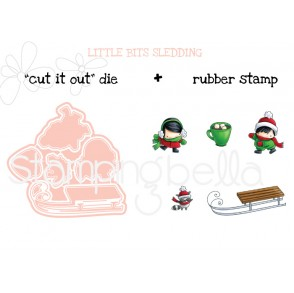 LITTLE BITS SLEDDING cut it out die + rubber stamp BUNDLE (save 15%)