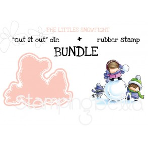 "THE LITTLES SNOWFIGHT ""cut it out"" die + rubber stamp BUNDLE (save 15%)"